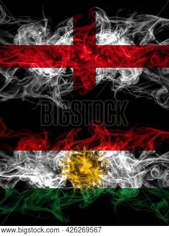Flag Of England, English And Kurdistan, Kurdish, Kurds Countries With Smoky Effect