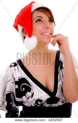 Front View Of Cheerful Woman In Christmas Hat