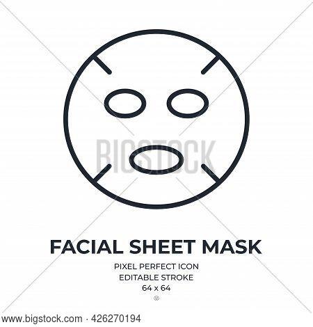 Face Sheet Mask Editable Stroke Outline Icon Isolated On White Background Flat Vector Illustration.