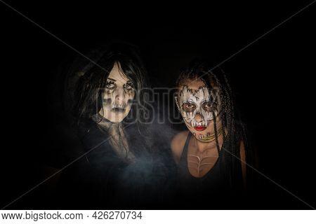 Supernatural Entities, Portrait Of Two Supernatural Entities, Artistic Makeup, Black Background, Low
