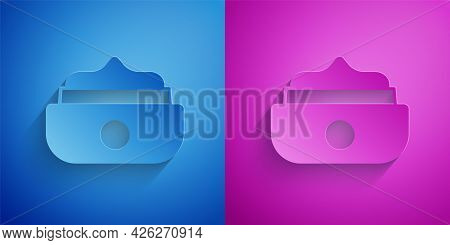 Paper Cut Gel Or Wax For Hair Styling Icon Isolated On Blue And Purple Background. Hair Cosmetic. Ja