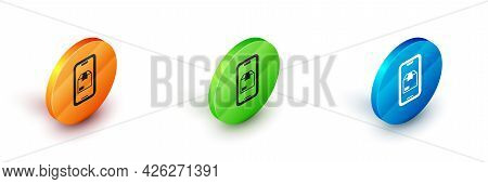 Isometric Mobile Smart Phone With App Delivery Tracking Icon Isolated On White Background. Parcel Tr