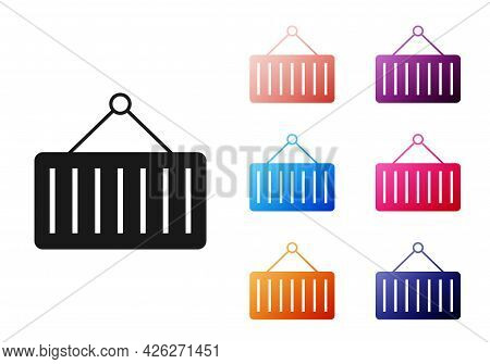 Black Container On Crane Icon Isolated On White Background. Crane Lifts A Container With Cargo. Set