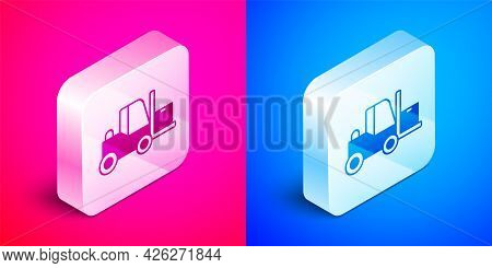 Isometric Forklift Truck Icon Isolated On Pink And Blue Background. Fork Loader And Cardboard Box. C