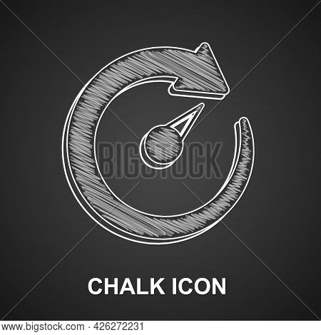 Chalk Digital Speed Meter Icon Isolated On Black Background. Global Network High Speed Connection Da