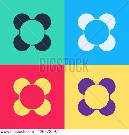 Pop Art Molecule Icon Isolated On Color Background. Structure Of Molecules In Chemistry, Science Tea