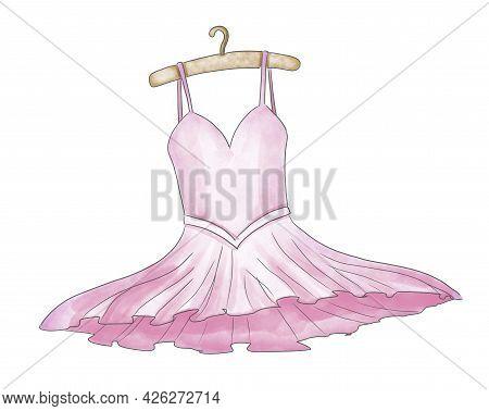 Watercolor Pink Tutu Dress For Ballerina. Vintage Clothes For Dancer. Hand Drawn Illustration On Whi