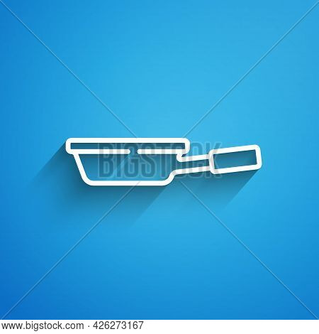 White Line Frying Pan Icon Isolated On Blue Background. Fry Or Roast Food Symbol. Long Shadow. Vecto