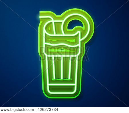 Glowing Neon Line Fresh Smoothie Icon Isolated On Blue Background. Vector