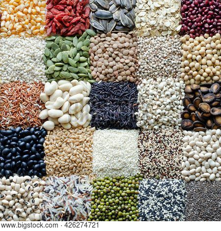 Variety Kinds Of Natural Cereal And Grain Seeds In Chessboard Pattern, For Healthy Or Clean Food Ing
