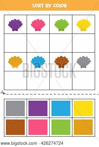 Sort By Colors. Cartoon Colorful Seashell. Learning Basic Colors For Kids.