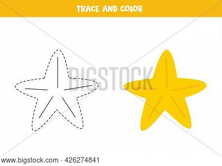 Trace And Color Cute Yellow Starfish. Educational Game For Kids. Writing And Coloring Practice.