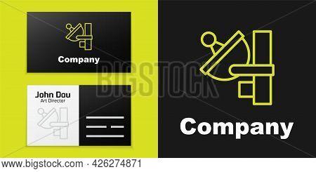 Logotype Line Radar Icon Isolated On Black Background. Search System. Satellite Sign. Logo Design Te