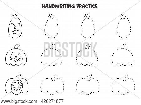 Tracing Contours For Kids With Black And White Halloween Pumpkins. Handwriting Practice For Children