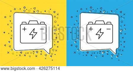 Set Line Car Battery Icon Isolated On Yellow And Blue Background. Accumulator Battery Energy Power A