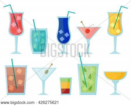Set Of Summer Cocktail Vector Illustration On White Background. Alcoholic Summer Drinks Mojito, Mart