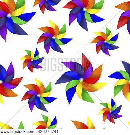 Drawing Rainbow Color Blades Of Paper Turbines Illustration, Colorful Blades Seamless Pattern On Whi