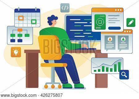 Developer Flat Vector Illustration Shows A Developer - Software