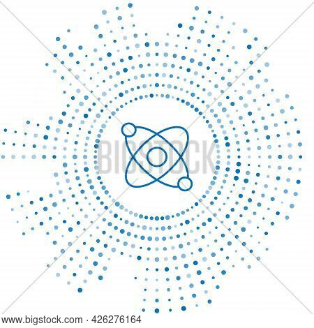 Blue Line Atom Icon Isolated On White Background. Symbol Of Science, Education, Nuclear Physics, Sci