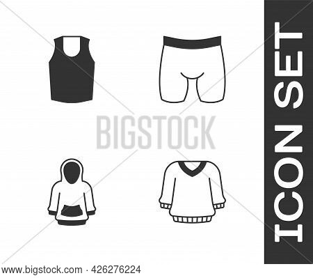 Set Sweater, Undershirt, Hoodie And Cycling Shorts Icon. Vector