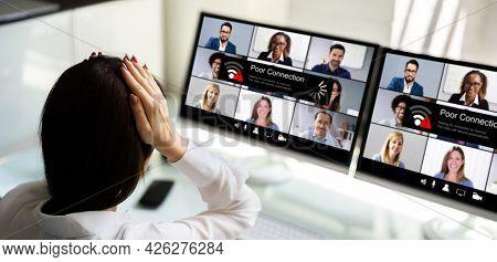 Virtual Video Conferencing Meeting Broadband Problems. Lost Broken Connection