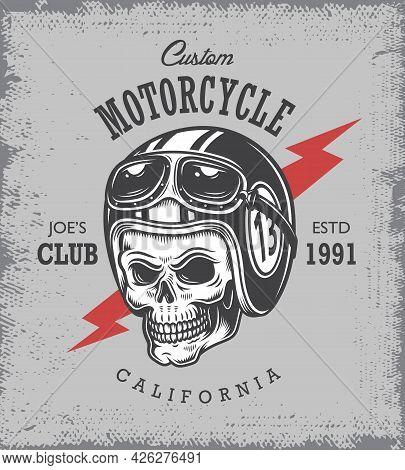Vintage Motorcycle Print With Skull In Motorcycle Helmet On Grange Background.
