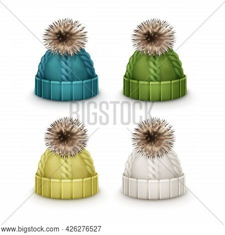 Vector Set Of Blue, Green, Yellow, White Winter Knitted Caps With Pom-pom Side View Isolated On Whit