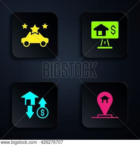 Set Location House, Car Sharing, House With Dollar And Online Real Estate. Black Square Button. Vect