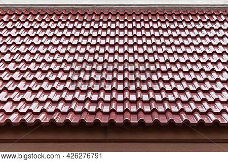 Red Galvanized House Roof Pattern And Background Seamless