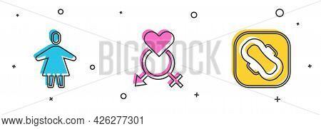 Set Female, Gender And Sanitary Napkin Icon. Vector