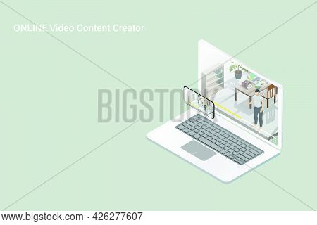 Online Video Content Creator Is Delivering His Content Through Social Media Channels On Isometric Co