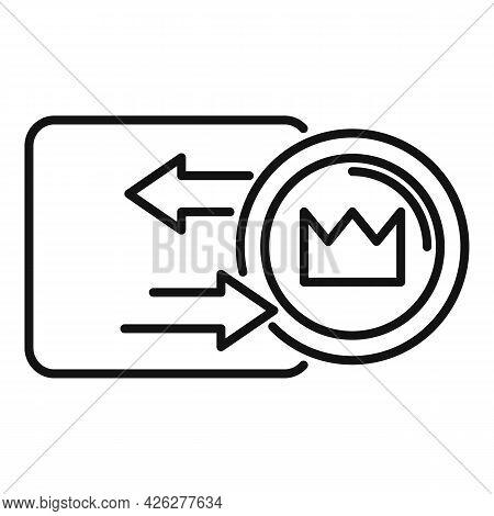 Token Convertor Icon Outline Vector. Nft Fungible. Crypto Art Token
