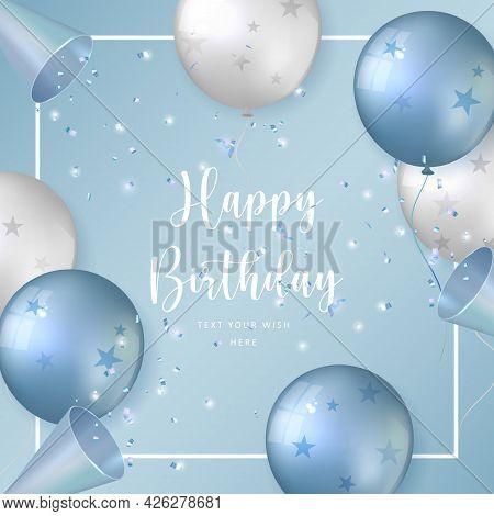 Elegant Blue White Silver Ballon And Party Popper Ribbon Happy Birthday Celebration Card Banner Temp