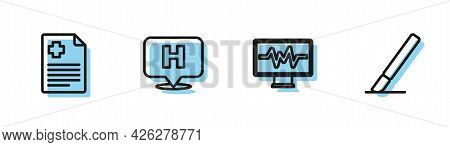 Set Line Monitor With Cardiogram, Patient Record, Location Hospital And Surgery Scalpel Icon. Vector
