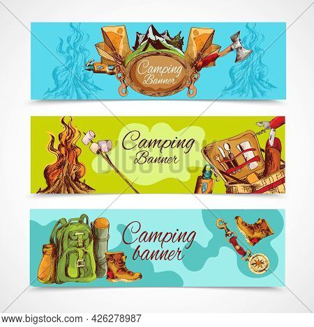 Camping Sketch Banner Horizontal Set With Backpack Hiking Boots Bonfire Isolated Vector Illustration