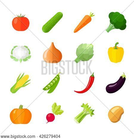 Vegetables Icons Flat Set With Cauliflower Broccoli Celery Cabbage Cucumber Isolated Vector Illustra