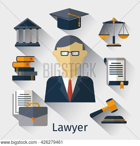 Vector Lawyer, Attorney Or Jurist Concept Background. Lawyer And Attorney, Law Jurist, Advocate Man