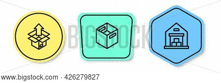 Set Line Unboxing, Carton Cardboard And Warehouse. Colored Shapes. Vector