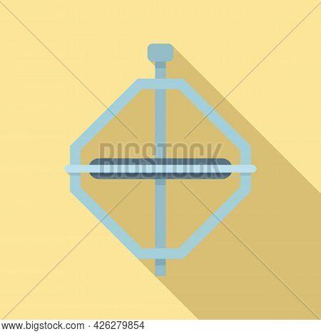 Steel Gyroscope Icon Flat Vector. Sensor Stand. Gyro Gravity