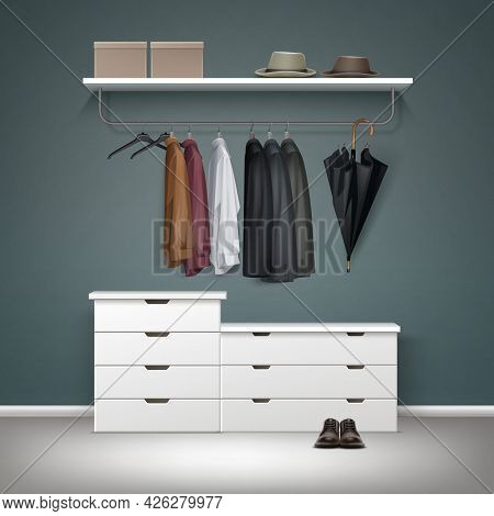 Vector Metal Clothes Rack, White Drawers And Shelf With Boxes, Jacket, Coat, Shirts, Hats Black Umbr