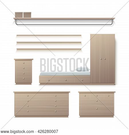 Vector Set Of Beige Wardrobe, Closet, Nightstand, Clothes Stand, Rack And Pillow Front View Isolated