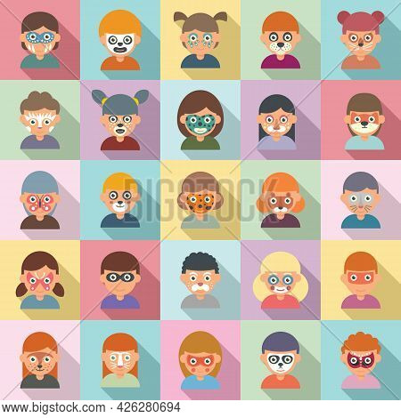 Face Painting Icons Set Flat Vector. Paint Kids Make Up. Birthday Face Painting
