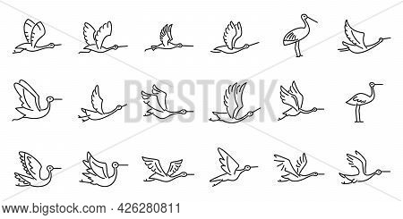 Fly Stork Icons Set Outline Vector. Fly Stork Bird. Delivery Newborn
