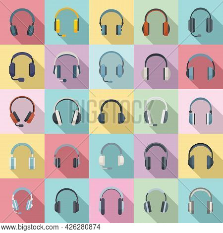 Headset Icons Set Flat Vector. Audio Accessory. Cable Cord Headset