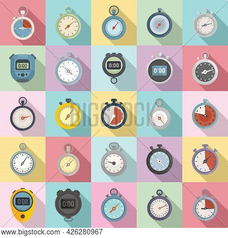 Stopwatch Icons Set Flat Vector. Minute Timer. Time Clock Stopwatch
