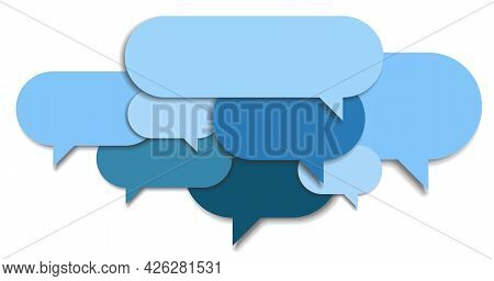 Layered Empty Blue Speech Bubbles, Communication Or Discussion Symbol, Vector Illustration