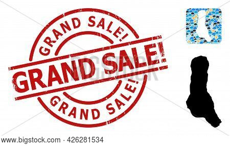 Climate Collage Map Of Grande Comore Island, And Textured Red Round Grand Sale Exclamation. Stamp Se