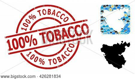 Weather Mosaic Map Of Cadiz Province, And Rubber Red Round 100 Percent Tobacco Badge. Geographic Vec