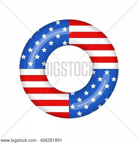 Inflatable Swimming Ring Looking Like Usa Flag Isolated On White Background, Rubber Float Pool Lifes