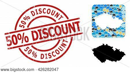 Weather Mosaic Map Of Czech Republic, And Distress Red Round 50 Percent Discount Badge. Geographic V